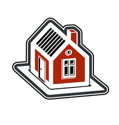 Simple village mansion icon abstract house country vector