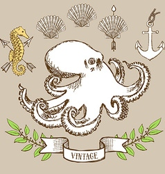 Octopus poster with shell anchor and seahorse vector