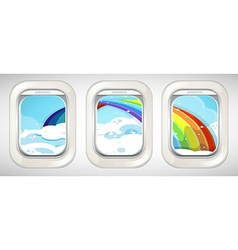 Rainbow outside the window vector