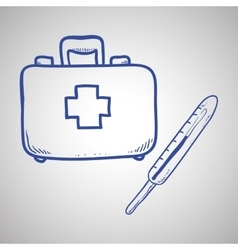 Medical care design sketch icon flat vector