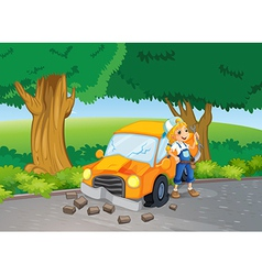 A car crash at the road near the big trees vector