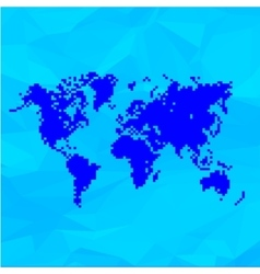 Blue world map in pixels vector