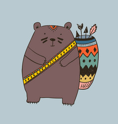 boho with bear vector image vector image
