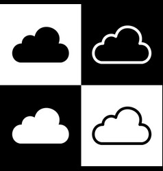 Cloud sign black and white vector