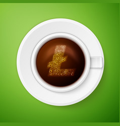 Cup of coffee with litecoin symbol vector