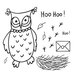 Cute cartoon wise owl with mail nest footprints vector