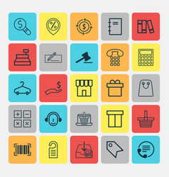 E-commerce icons set collection of till employee vector