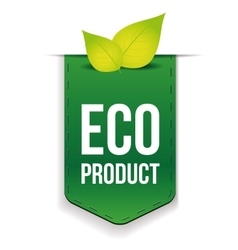 Eco product ribbon with leaf vector