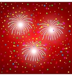 Fireworks on a red background vector