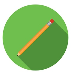 Flat design modern of pensil icon with long shadow vector image