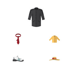 Flat icon clothes set of sneakers uniform cravat vector