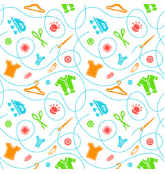 flat seamless background with sewing tools vector image vector image