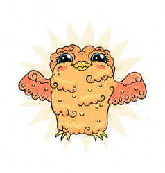 Flying doodle owl free hugs fluffy bird vector