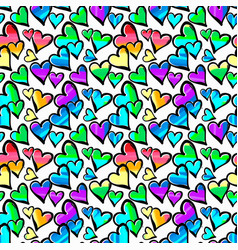 gay pride rainbow colored hearts seamless pattern vector image vector image