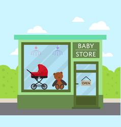 Green facade baby store building in flat design vector