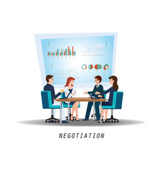 group of business partners negotiating at meeting vector image