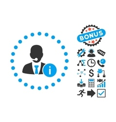 Help Desk Flat Icon with Bonus vector image vector image
