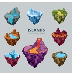 Isometric 3d set of flying islands vector