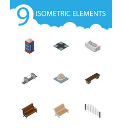 isometric architecture set of flower decoration vector image vector image