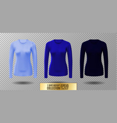 Long sleeve blank shirt blue shirt mockup vector