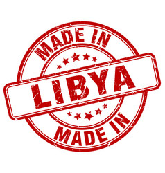Made in libya red grunge round stamp vector