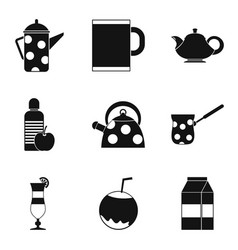 mug with tea icons set simple style vector image