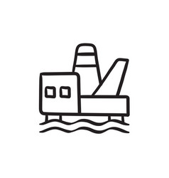 Offshore oil platform sketch icon vector