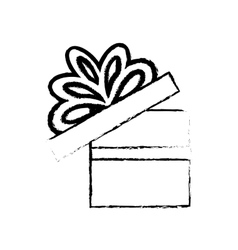 Open gift box ribbon bow party sketch vector