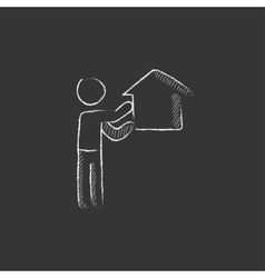 Real estate agent drawn in chalk icon vector
