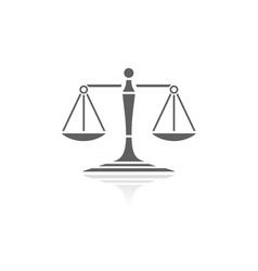 Scales of justice icon with reflection on a white vector
