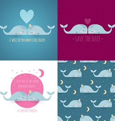 set of 4 romantic greeting cards with whales vector image