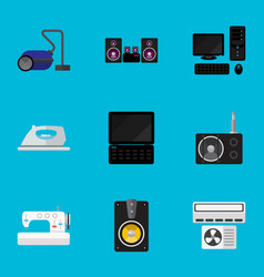 set of 9 editable tech flat icons includes vector image vector image