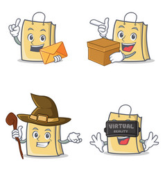 Set of bag character with envelope box witch vector