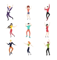 Set of dancing people in flat style vector