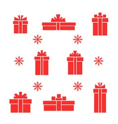 Set of red gift boxes and snowflake vector