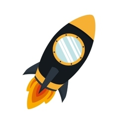 silhouette color with space rocket vector image vector image
