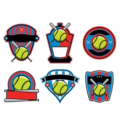 Softball badges and emblems vector