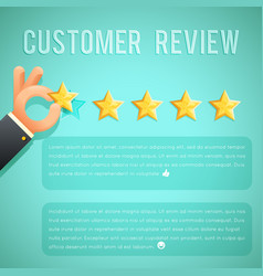 Star rating review customer experience hand text vector