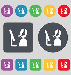 Telemarketing icon sign a set of 12 colored vector