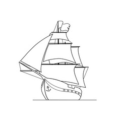 Contour image of ship isolated on white background vector
