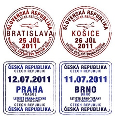 Czecholovakia passport stamps vector