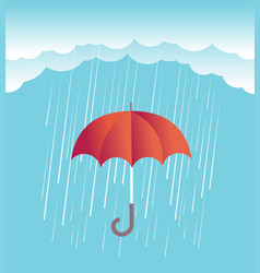 Rain clouds with red umbrella spring sky vector
