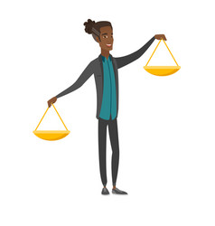 Young african businessman holding balance scale vector