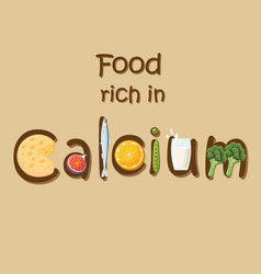 Food rich in mineral calcium vector
