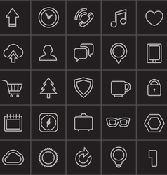 Modern web icons collection on black vector