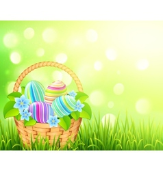 Basket with easter eggs on bokeh light effect vector