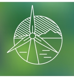 Wind turbine linear icon eco generating vector
