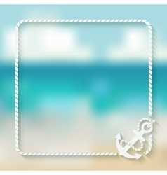 Nautical card template with anchor vector