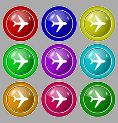 Plane icon sign symbol on nine round colourful vector