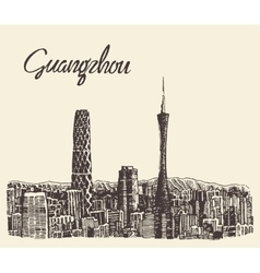 Guangzhou skyline drawn sketch vector